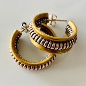 Jewelry - Two Tone Sterling Silver Twisted Cable Earrings